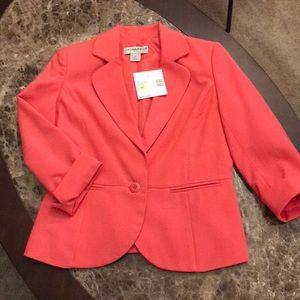 Petite Coral Pink Sag Harbor Linen Blazer Jacket